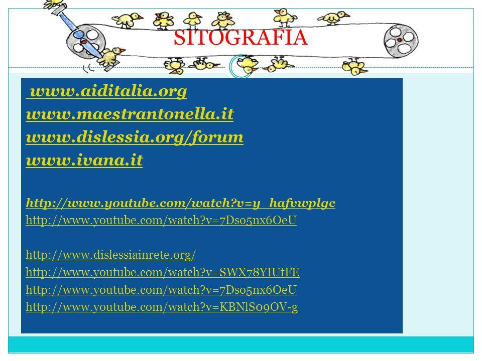 SITOGRAFIA www.aiditalia.org www.maestrantonella.it www.dislessia.org/forum www.ivana.it http://www.youtube.com/watch?v=y_hafvwplgc http://www.youtube