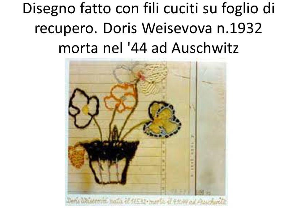 Disegno fatto con fili cuciti su foglio di recupero. Doris Weisevova n.1932 morta nel '44 ad Auschwitz
