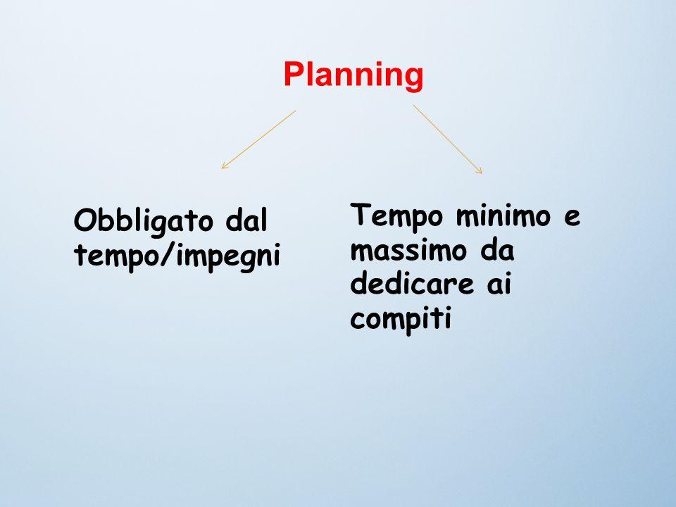 Planning Obbligato dal tempo/impegni Tempo minimo e massimo da dedicare ai compiti