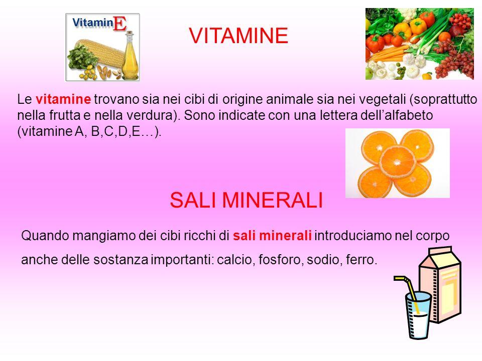 VITAMINE Le vitamine trovano sia nei cibi di origine animale sia nei vegetali (soprattutto nella frutta e nella verdura). Sono indicate con una letter