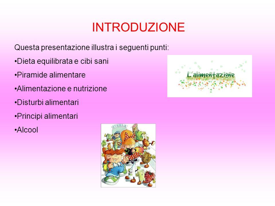 INTRODUZIONE Questa presentazione illustra i seguenti punti: Dieta equilibrata e cibi sani Piramide alimentare Alimentazione e nutrizione Disturbi ali