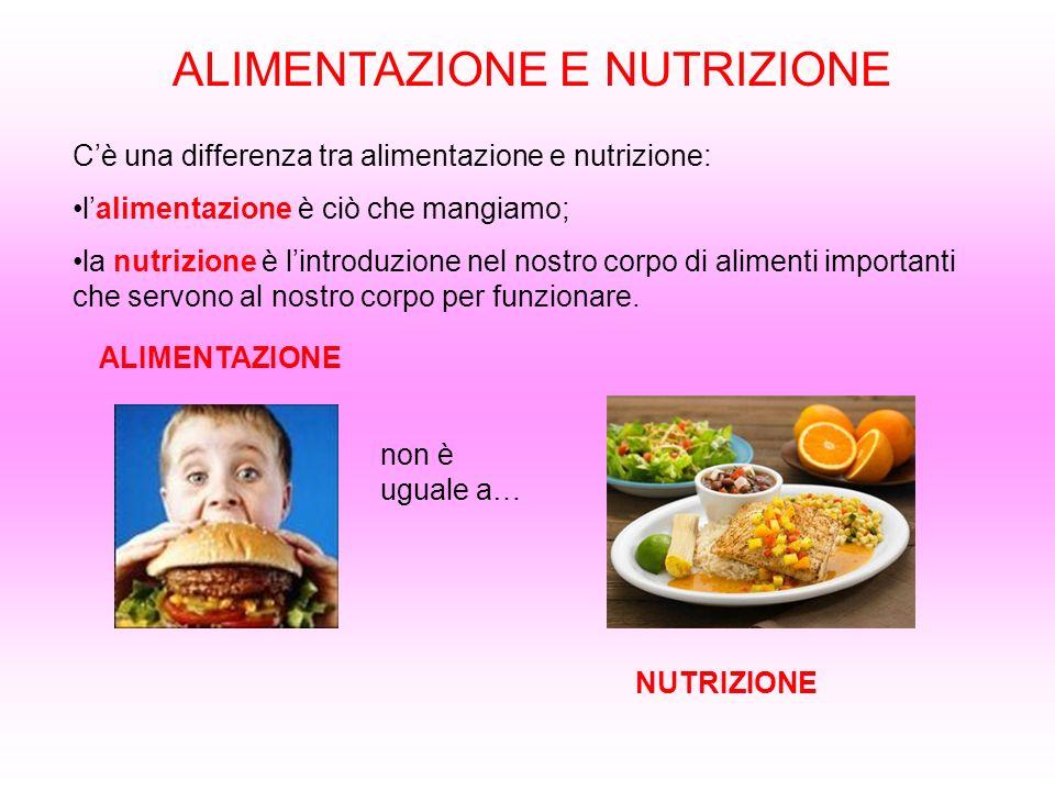 ALIMENTAZIONE E NUTRIZIONE Cè una differenza tra alimentazione e nutrizione: lalimentazione è ciò che mangiamo; la nutrizione è lintroduzione nel nost