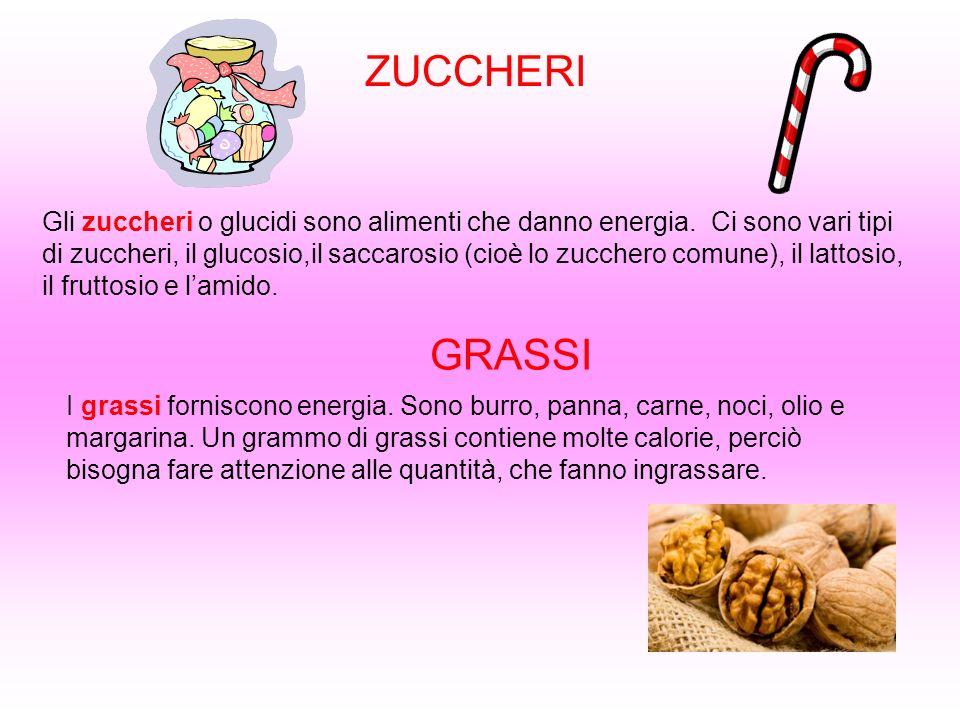 ZUCCHERI Gli zuccheri o glucidi sono alimenti che danno energia. Ci sono vari tipi di zuccheri, il glucosio,il saccarosio (cioè lo zucchero comune), i
