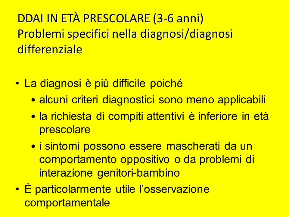 DDAI IN ETÀ PRESCOLARE (3-6 anni) Problemi specifici nella diagnosi/diagnosi differenziale La diagnosi è più difficile poiché alcuni criteri diagnosti