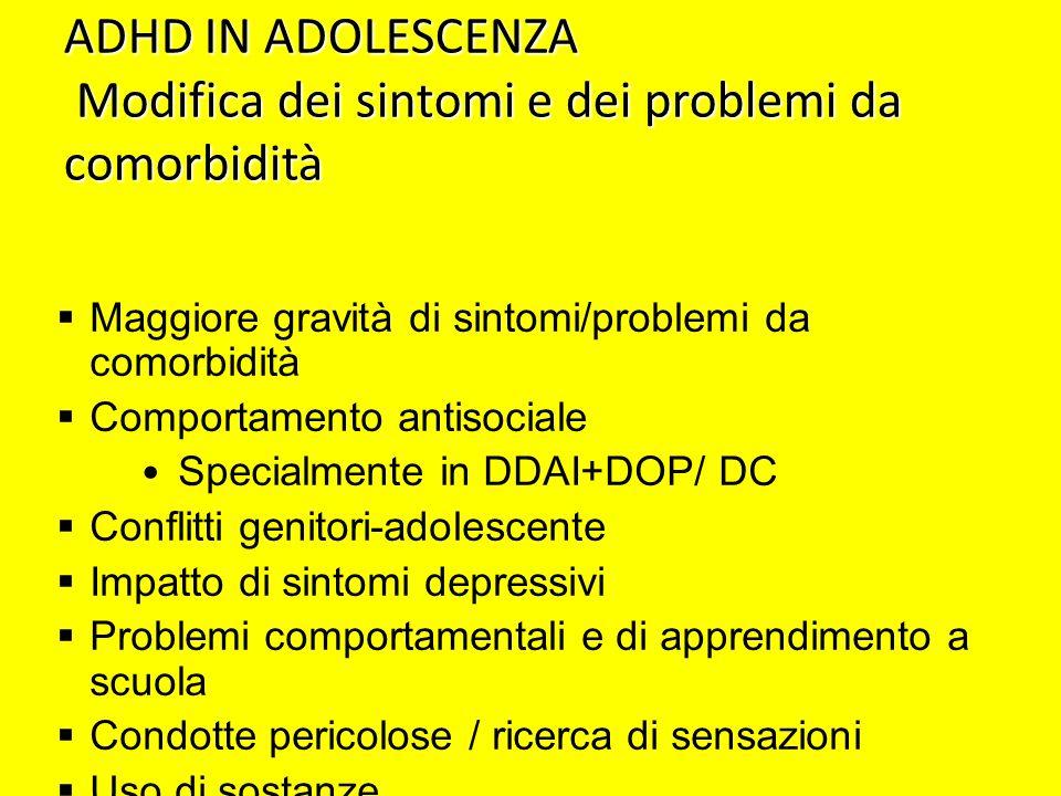 ADHD IN ADOLESCENZA Modifica dei sintomi e dei problemi da comorbidità Maggiore gravità di sintomi/problemi da comorbidità Comportamento antisociale S