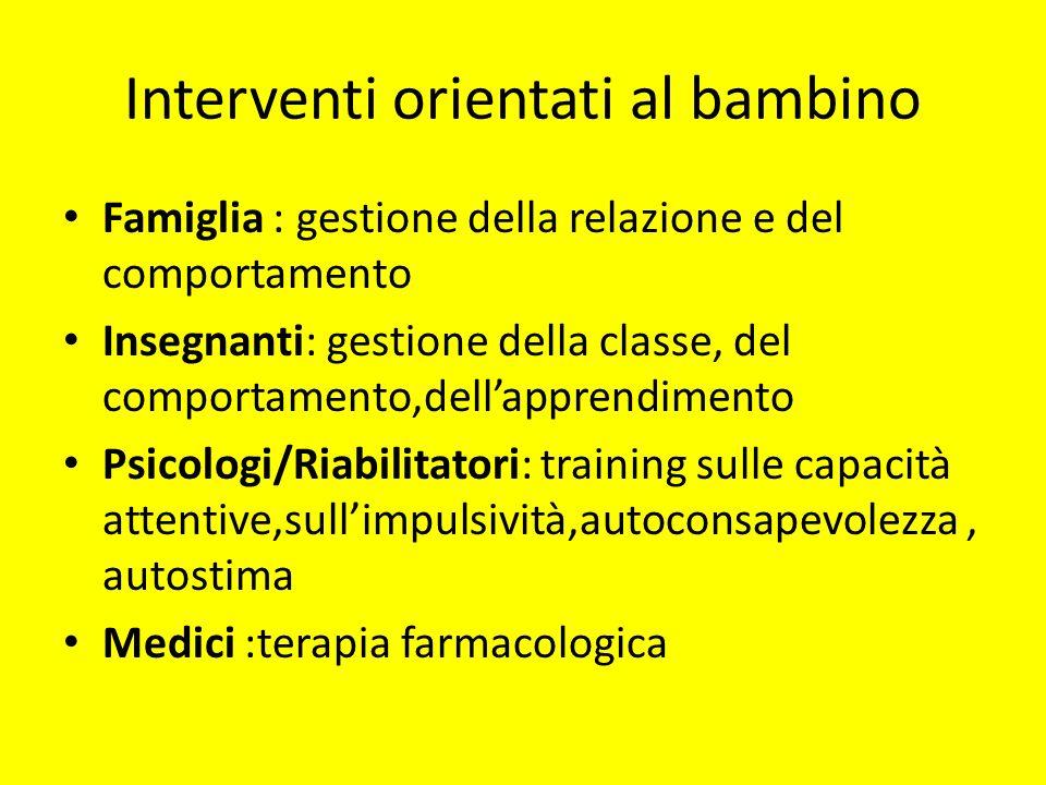 Interventi orientati al bambino Famiglia : gestione della relazione e del comportamento Insegnanti: gestione della classe, del comportamento,dellappre