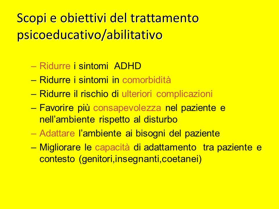 Scopi e obiettivi del trattamento psicoeducativo/abilitativo –Ridurre i sintomi ADHD –Ridurre i sintomi in comorbidità –Ridurre il rischio di ulterior