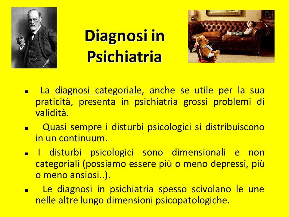 Diagnosi in Psichiatria La diagnosi categoriale, anche se utile per la sua praticità, presenta in psichiatria grossi problemi di validità. Quasi sempr