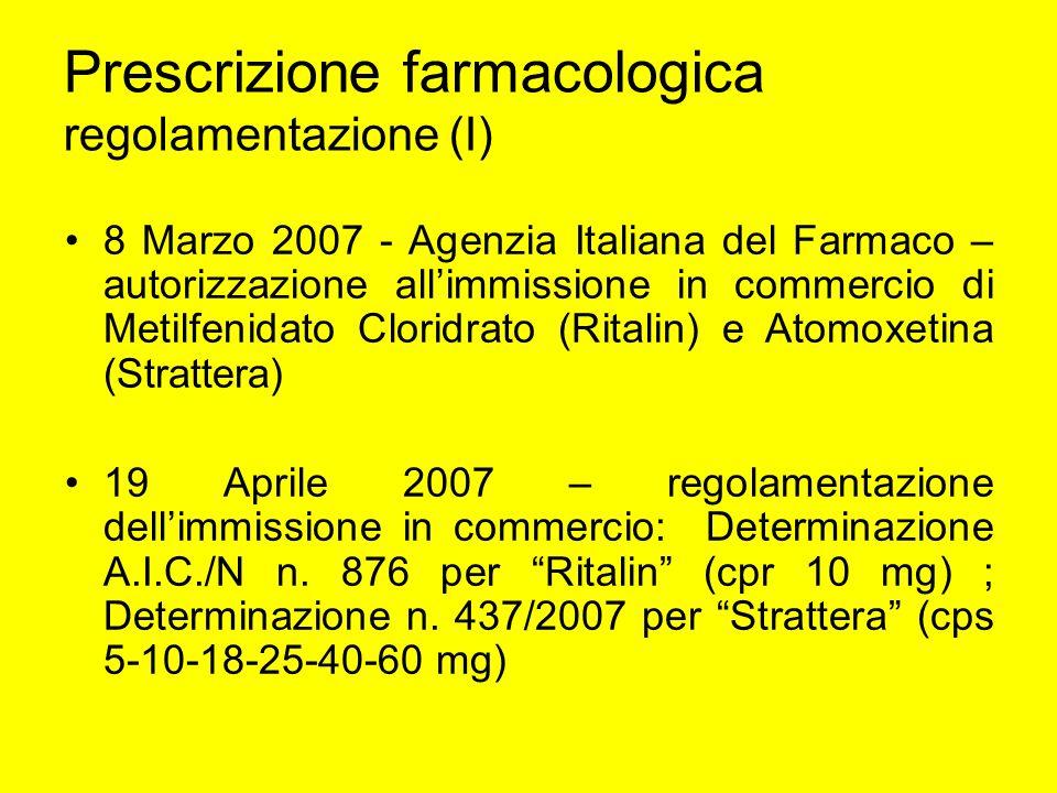 Prescrizione farmacologica regolamentazione (I) 8 Marzo 2007 - Agenzia Italiana del Farmaco – autorizzazione allimmissione in commercio di Metilfenida