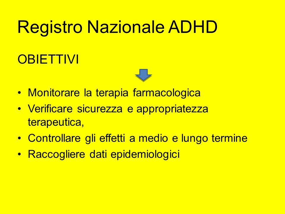 Registro Nazionale ADHD OBIETTIVI Monitorare la terapia farmacologica Verificare sicurezza e appropriatezza terapeutica, Controllare gli effetti a med