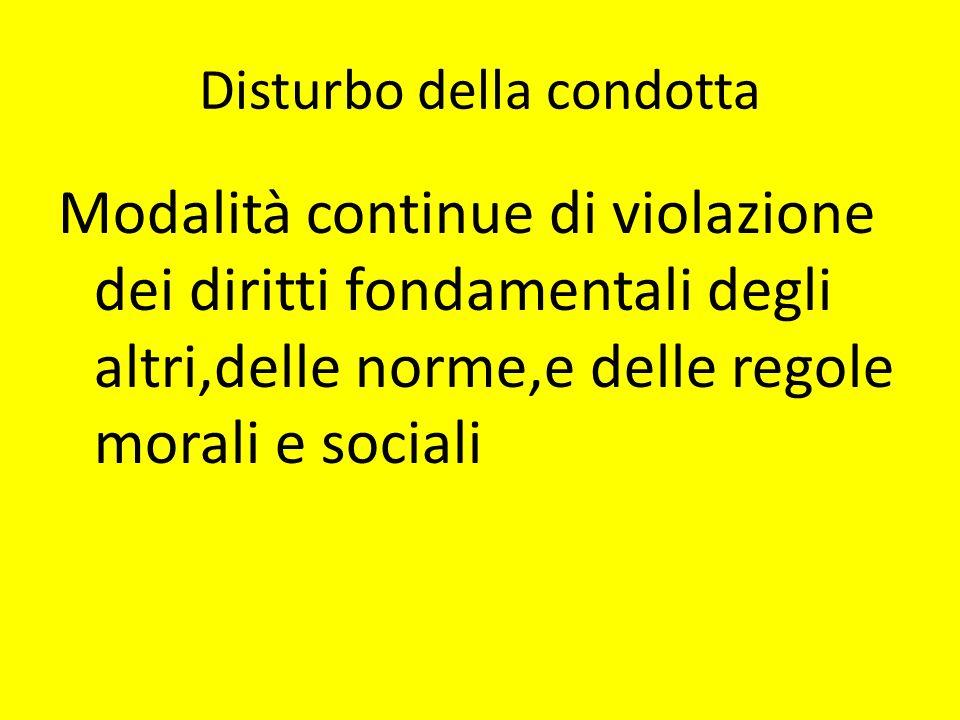 Disturbo della condotta Modalità continue di violazione dei diritti fondamentali degli altri,delle norme,e delle regole morali e sociali