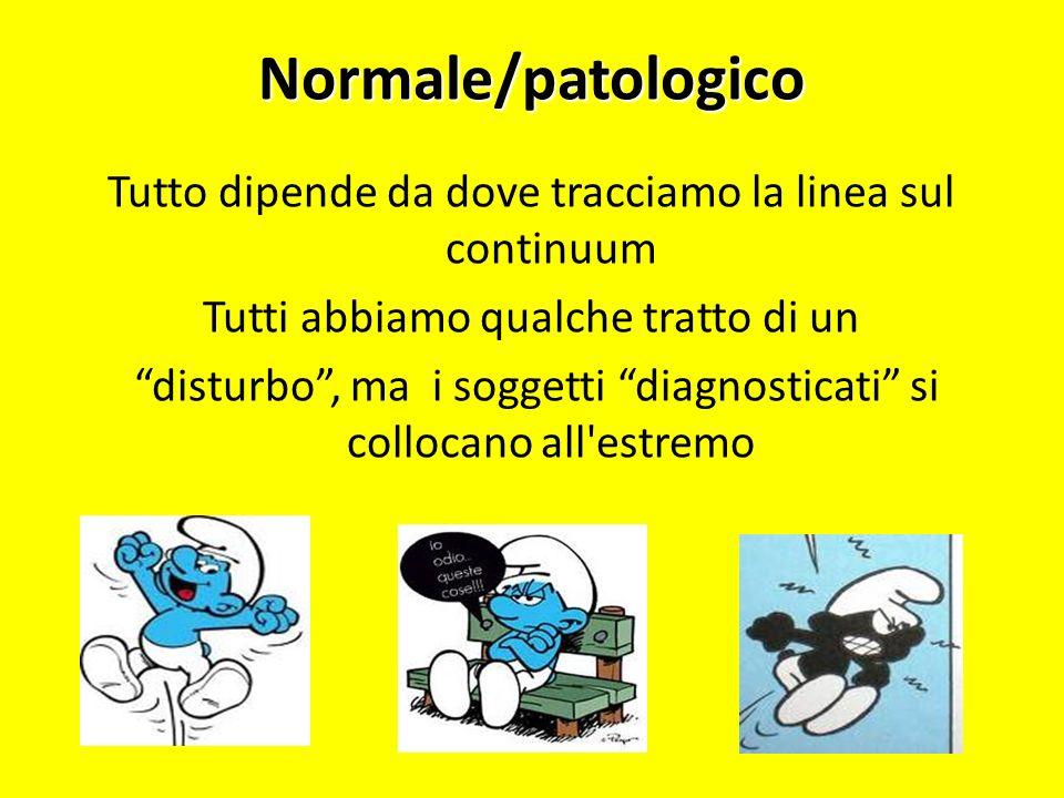 Normale/patologico Tutto dipende da dove tracciamo la linea sul continuum Tutti abbiamo qualche tratto di un disturbo, ma i soggetti diagnosticati si
