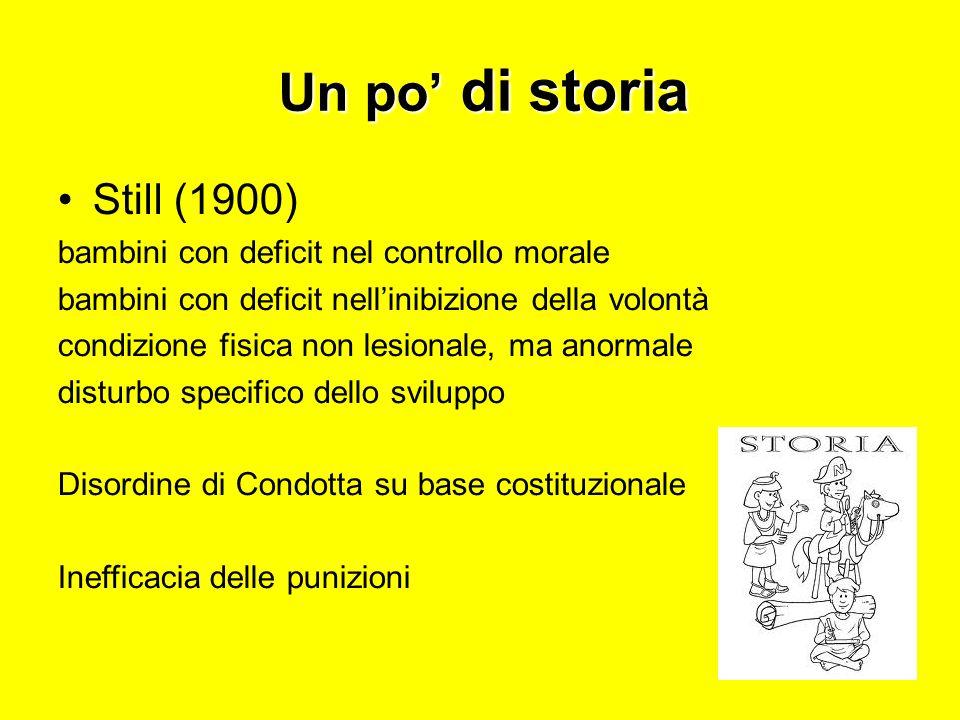 Un po di storia Still (1900) bambini con deficit nel controllo morale bambini con deficit nellinibizione della volontà condizione fisica non lesionale