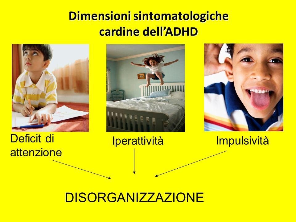 Dimensioni sintomatologiche cardine dellADHD Deficit di attenzione Iperattività Impulsività DISORGANIZZAZIONE