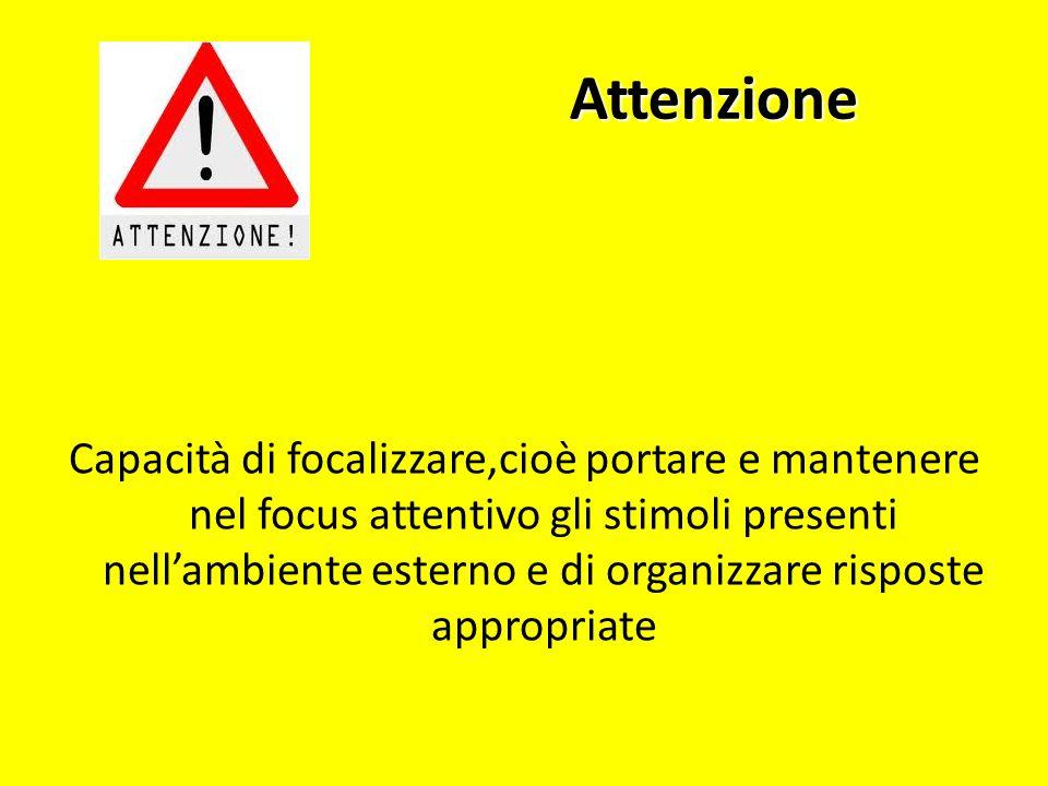 Attenzione Capacità di focalizzare,cioè portare e mantenere nel focus attentivo gli stimoli presenti nellambiente esterno e di organizzare risposte ap