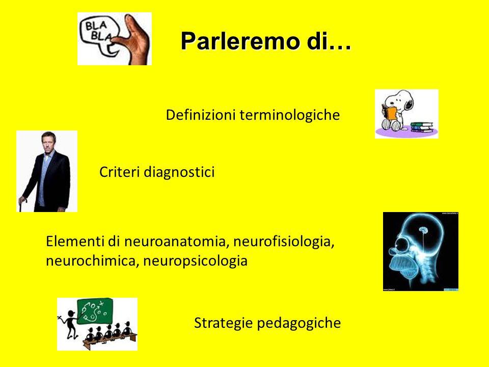 Definizioni terminologiche Criteri diagnostici Elementi di neuroanatomia, neurofisiologia, neurochimica, neuropsicologia Strategie pedagogiche Parlere