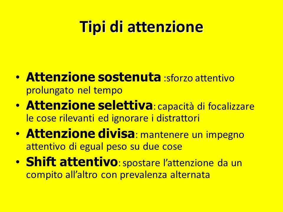 Tipi di attenzione Attenzione sostenuta :sforzo attentivo prolungato nel tempo Attenzione selettiva : capacità di focalizzare le cose rilevanti ed ign