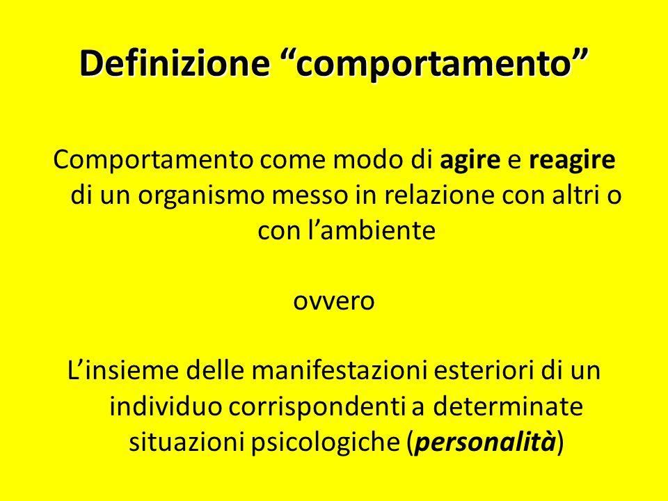 Definizione comportamento Comportamento come modo di agire e reagire di un organismo messo in relazione con altri o con lambiente ovvero Linsieme dell
