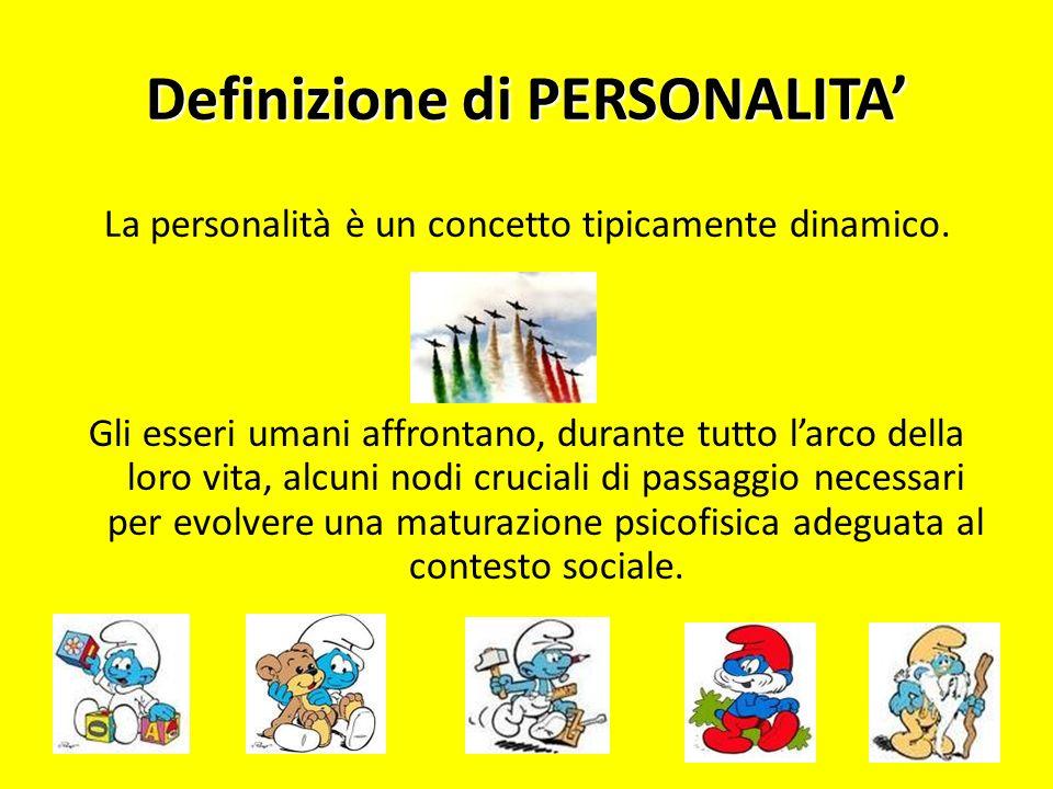 Definizione di PERSONALITA La personalità è un concetto tipicamente dinamico. Gli esseri umani affrontano, durante tutto larco della loro vita, alcuni