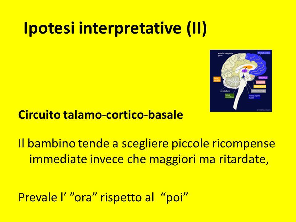 Ipotesi interpretative (II) Circuito talamo-cortico-basale Il bambino tende a scegliere piccole ricompense immediate invece che maggiori ma ritardate,