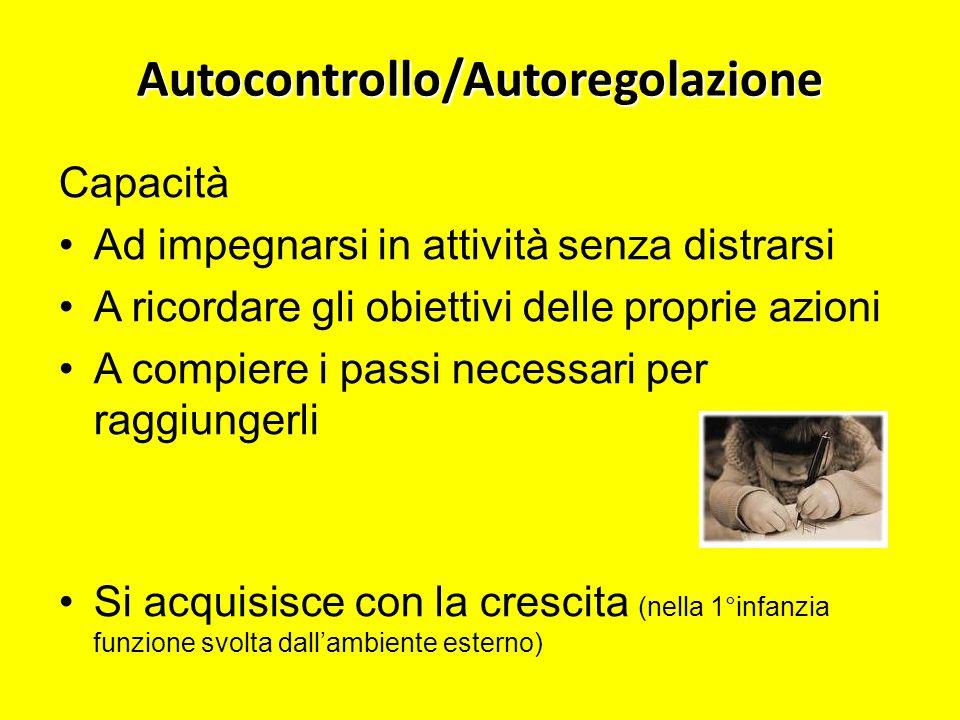 Autocontrollo/Autoregolazione Capacità Ad impegnarsi in attività senza distrarsi A ricordare gli obiettivi delle proprie azioni A compiere i passi nec