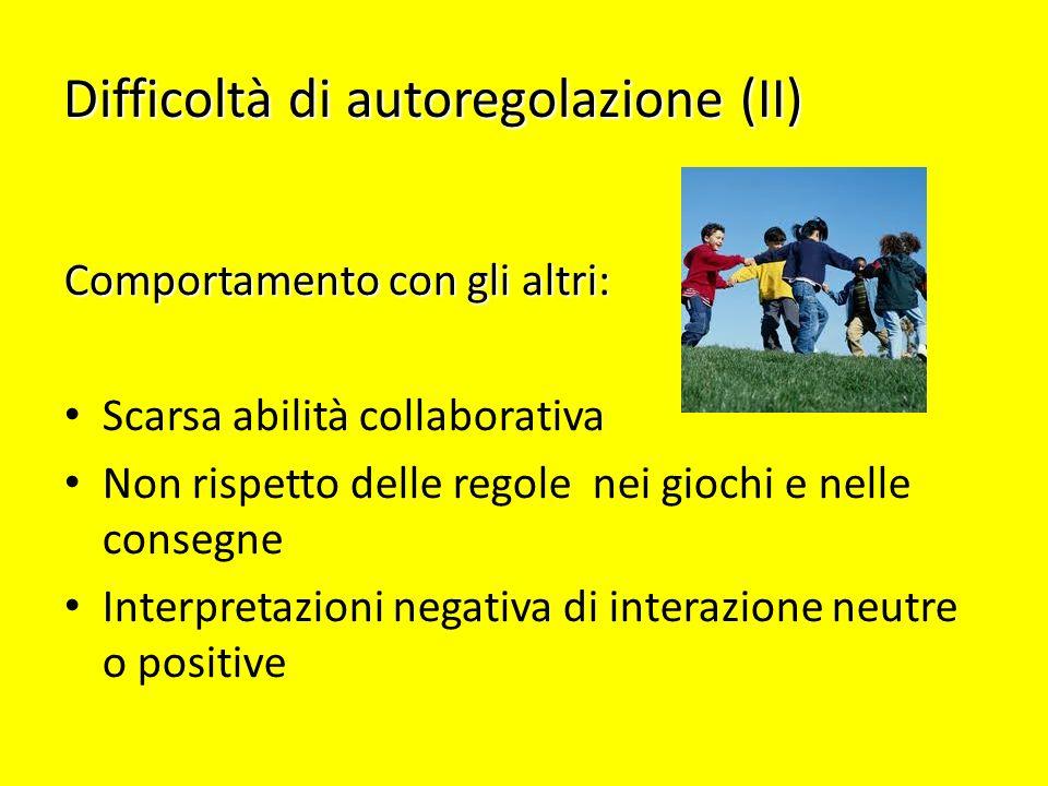 Difficoltà di autoregolazione (II) Comportamento con gli altri: Scarsa abilità collaborativa Non rispetto delle regole nei giochi e nelle consegne Int
