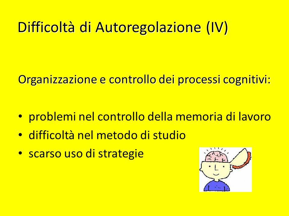 Difficoltà di Autoregolazione (IV) Organizzazione e controllo dei processi cognitivi: problemi nel controllo della memoria di lavoro difficoltà nel me