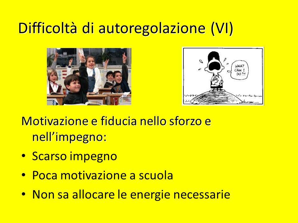 Difficoltà di autoregolazione (VI) Motivazione e fiducia nello sforzo e nellimpegno: Scarso impegno Poca motivazione a scuola Non sa allocare le energ