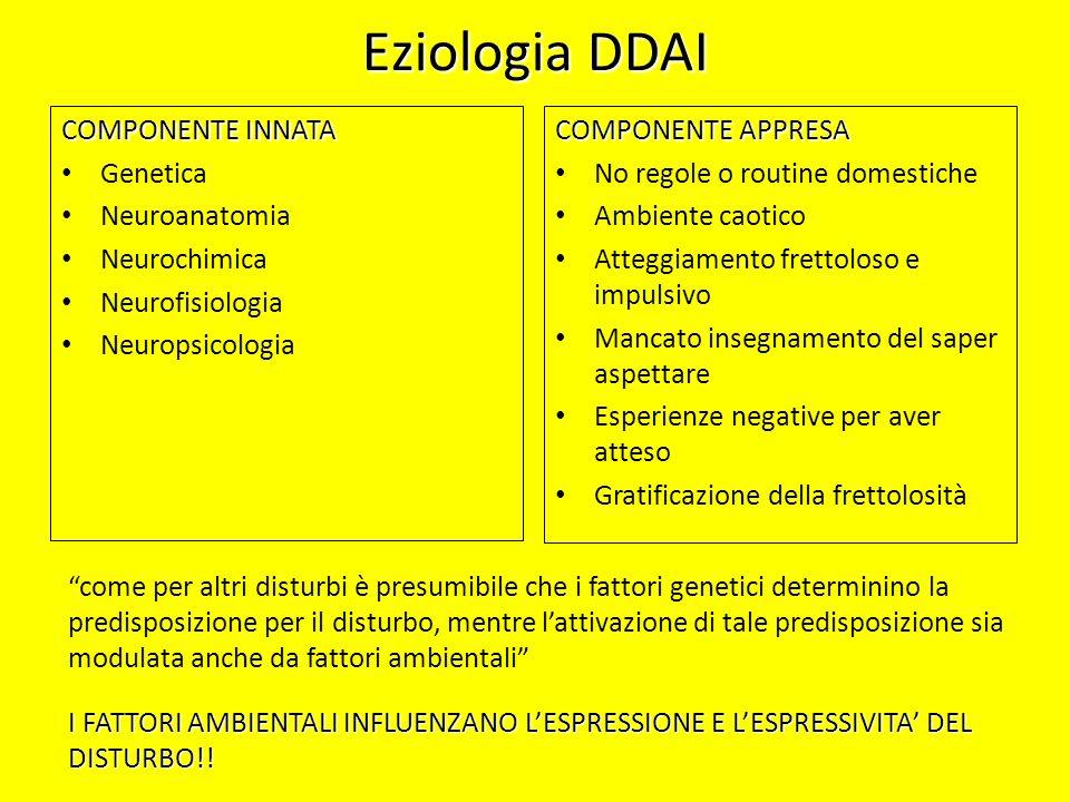 Eziologia DDAI COMPONENTE INNATA Genetica Neuroanatomia Neurochimica Neurofisiologia Neuropsicologia COMPONENTE APPRESA No regole o routine domestiche