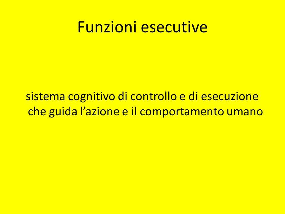 Funzioni esecutive sistema cognitivo di controllo e di esecuzione che guida lazione e il comportamento umano