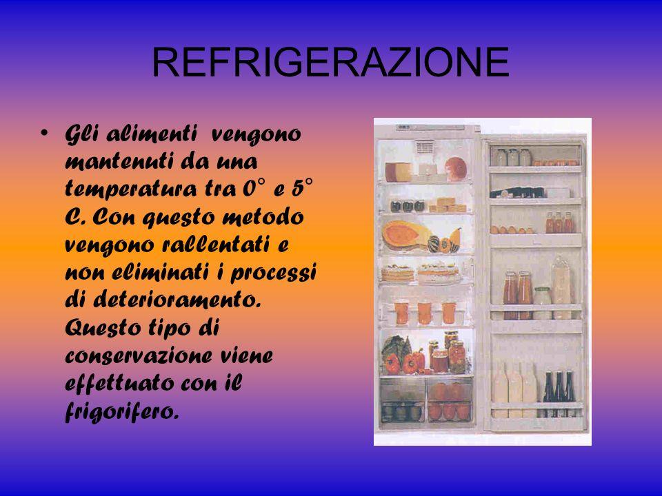 CONGELAMENTO Gli alimenti vengono portati a temperature comprese 0°-12°C.