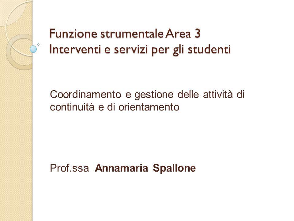 Funzione strumentale Area 3 Interventi e servizi per gli studenti Coordinamento e gestione delle attività di continuità e di orientamento Prof.ssa Ann