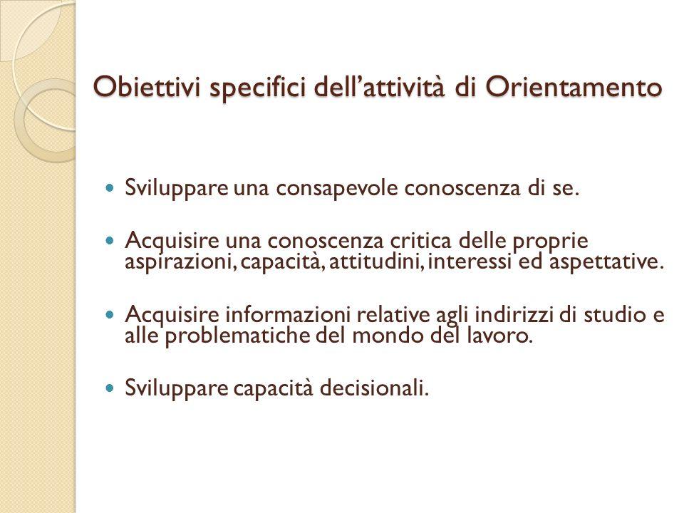 Obiettivi specifici dellattività di Orientamento Sviluppare una consapevole conoscenza di se. Acquisire una conoscenza critica delle proprie aspirazio
