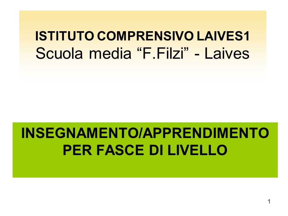 1 ISTITUTO COMPRENSIVO LAIVES1 Scuola media F.Filzi - Laives INSEGNAMENTO/APPRENDIMENTO PER FASCE DI LIVELLO