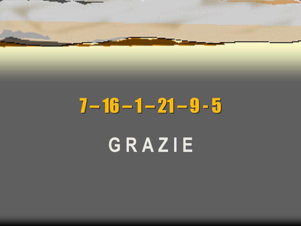 7 – 16 – 1 – 21 – 9 - 5 G R A Z I E