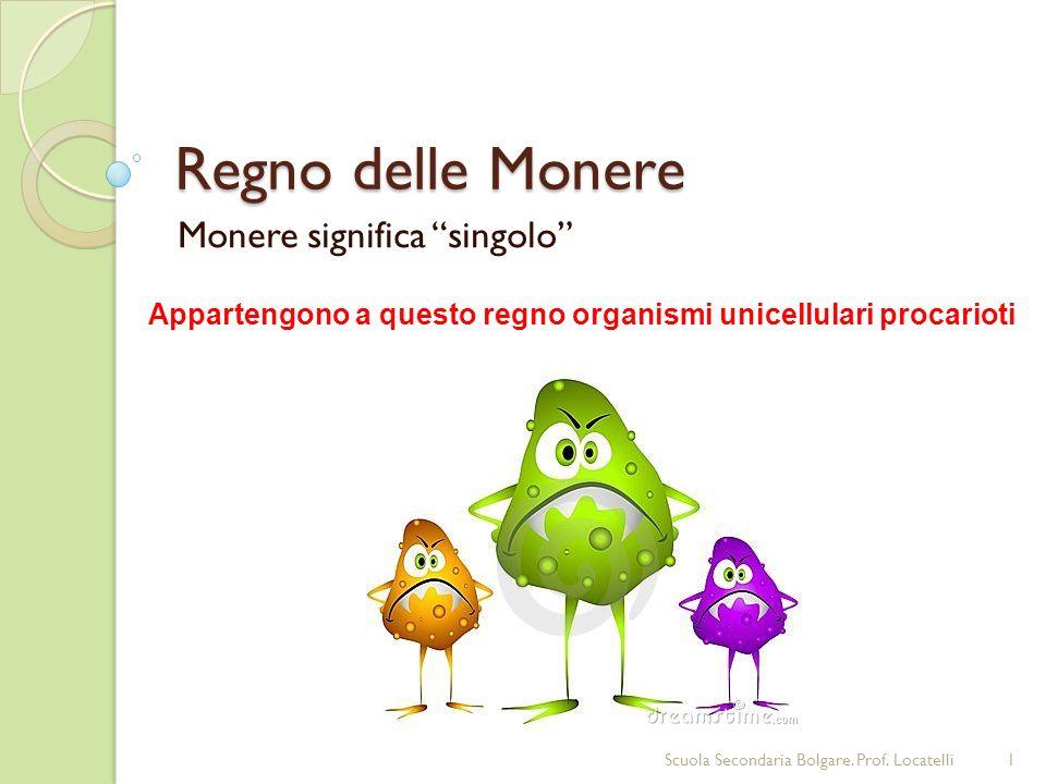 Regno delle Monere Monere significa singolo Appartengono a questo regno organismi unicellulari procarioti 1Scuola Secondaria Bolgare. Prof. Locatelli
