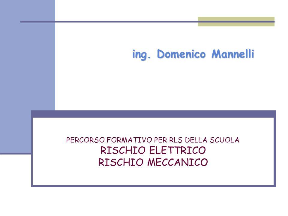 PERCORSO FORMATIVO PER RLS DELLA SCUOLA RISCHIO ELETTRICO RISCHIO MECCANICO ing. Domenico Mannelli