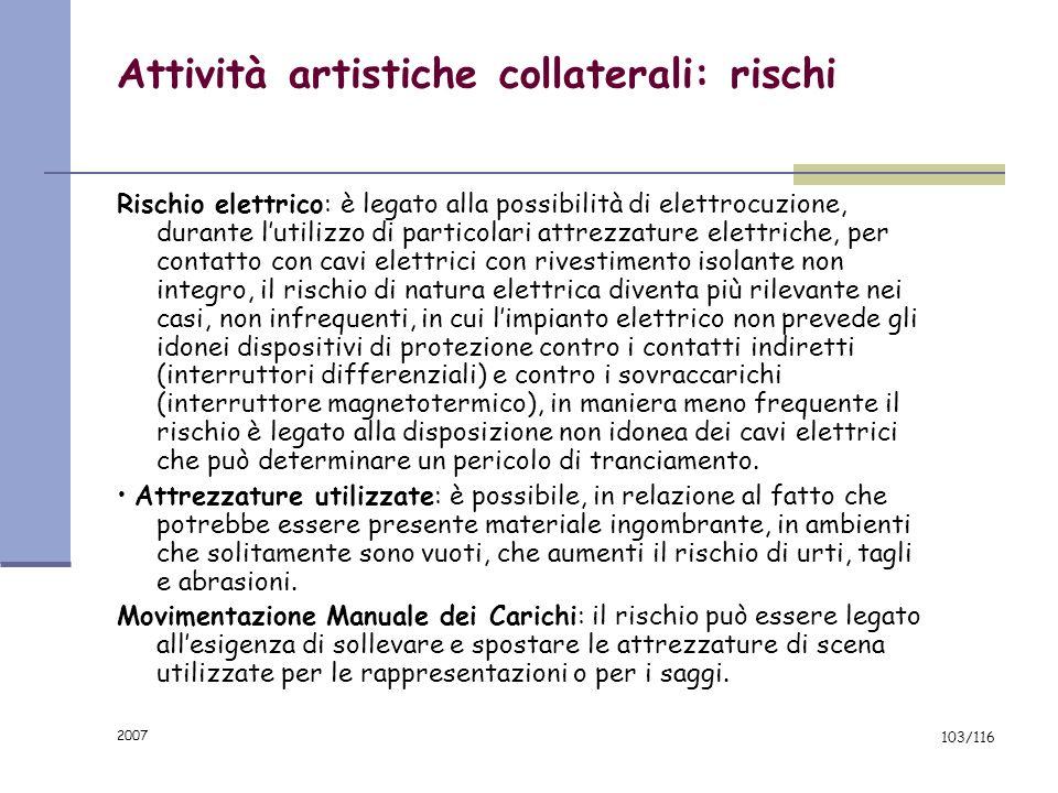 2007 102/116 Attività artistiche collaterali: fattori di rischio Le attrezzature normalmente utilizzate raggruppate per attività sono: Microfoni, ampl