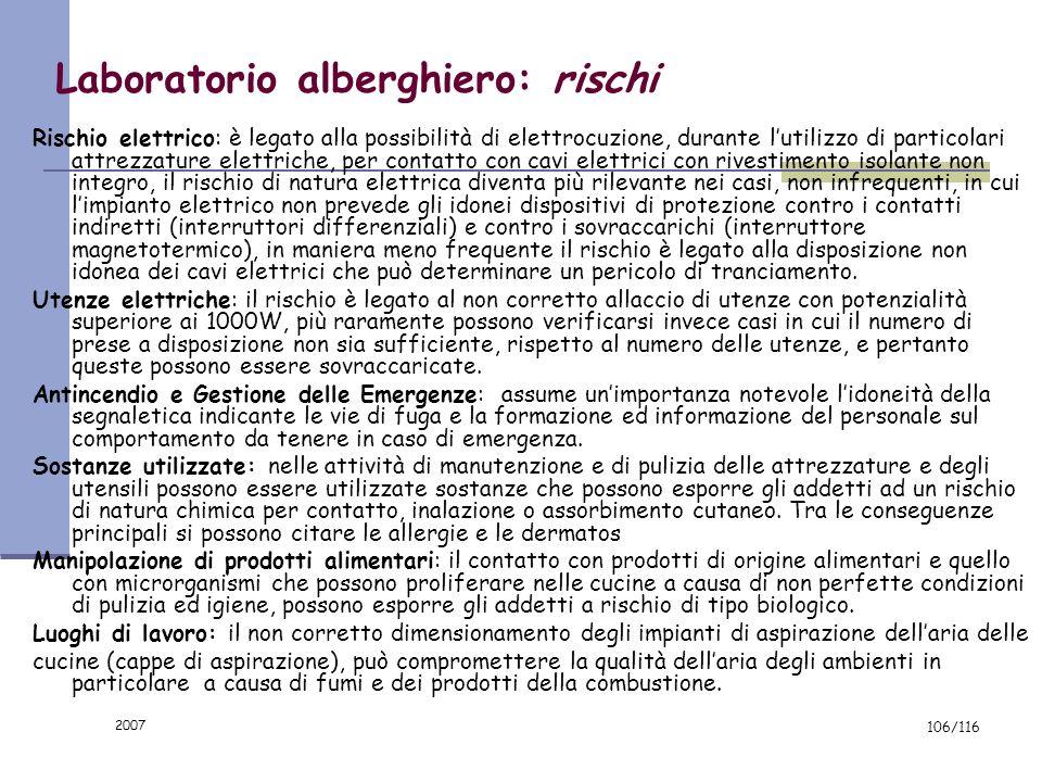 2007 105/116 Laboratorio alberghiero: attrezzature e macchine Affettatrice Utilizzata per affettare dai salumi agli arrosti deve essere marcata CE ed