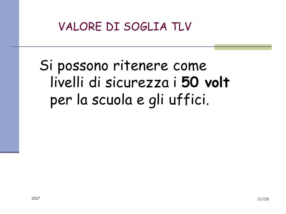 2007 10/116 DETERMINAZIONE DEL VALORE DI SOGLIA (TLV) Considerata la resistenza media del corpo umano, per non avere un passaggio di CORRENTE ELETTRIC
