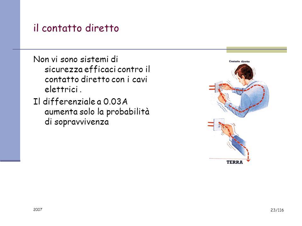 2007 22/116 PERICOLI CONNESSI CON IMPIANTI ED APPARECCHI ELETTRICI CONTATTI ELETTRICI DIRETTI CONTATTI ELETTRICI INDIRETTI INCENDIO ESPLOSIONE