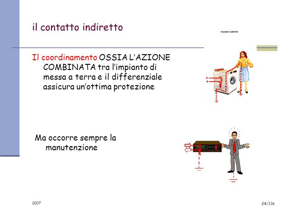 2007 23/116 il contatto diretto Non vi sono sistemi di sicurezza efficaci contro il contatto diretto con i cavi elettrici. Il differenziale a 0.03A au