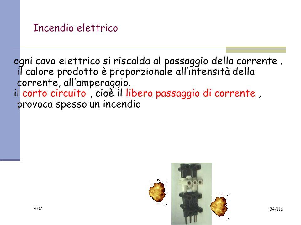 2007 33/116 Tutti gli apparecchi elettrici devono: indicare la tensione, l'intensità e il di tipo di corrente; essere dotati di documentazione relativ