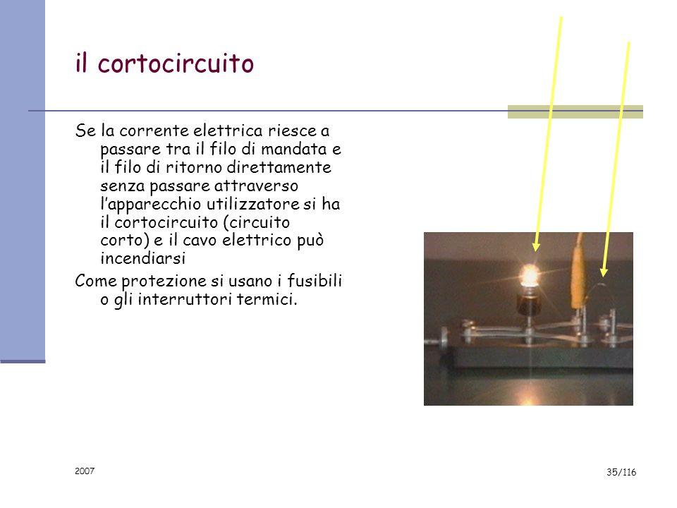2007 34/116 Incendio elettrico ogni cavo elettrico si riscalda al passaggio della corrente. il calore prodotto è proporzionale allintensità della corr