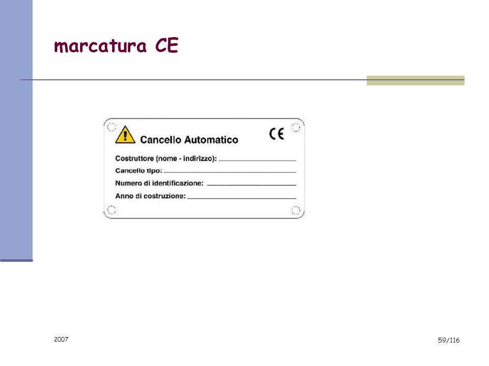 2007 58/116 fascicolo tecnico Conservato dal costruttore per 10 anni; Disegno e schema elettrico; Analisi dei rischi e soluzioni; Manuali tecnici (com