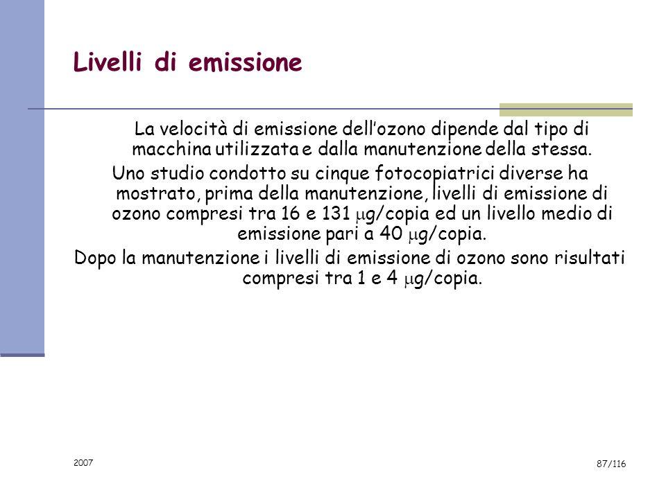 2007 86/116 Livelli di emissione In letteratura sono riportate velocità di emissione dellozono, misurate su 69 macchine fotocopiatrici in funzionament