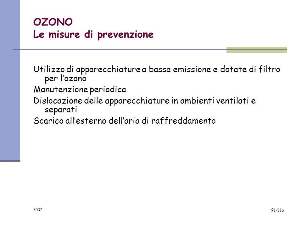 2007 90/116 OZONO La valutazione dellesposizione Verificare la presenza di filtri per lozono Verificare la presenza di sistemi di espulsione allestern