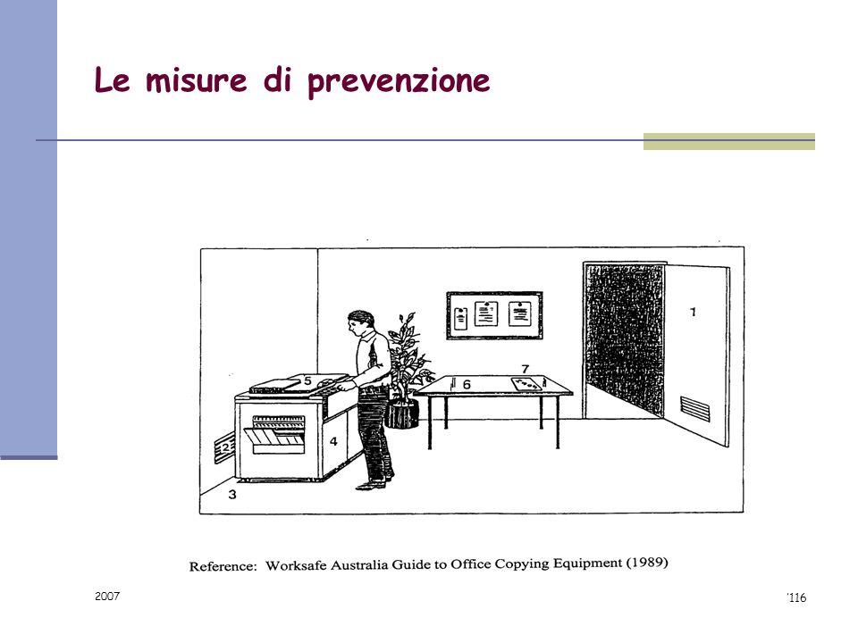 2007 91/116 OZONO Le misure di prevenzione Utilizzo di apparecchiature a bassa emissione e dotate di filtro per lozono Manutenzione periodica Dislocaz