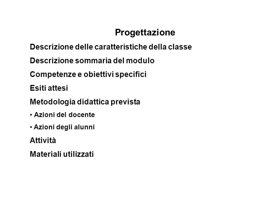 Progettazione Descrizione delle caratteristiche della classe Descrizione sommaria del modulo Competenze e obiettivi specifici Esiti attesi Metodologia
