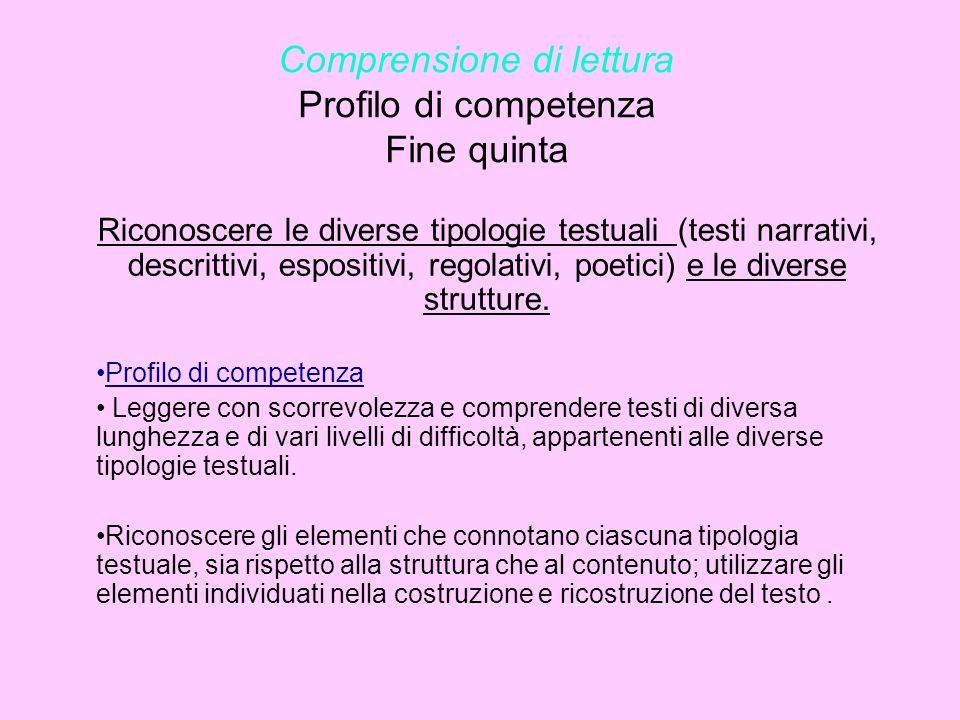 Comprensione di lettura Profilo di competenza Fine quinta Riconoscere le diverse tipologie testuali (testi narrativi, descrittivi, espositivi, regolat